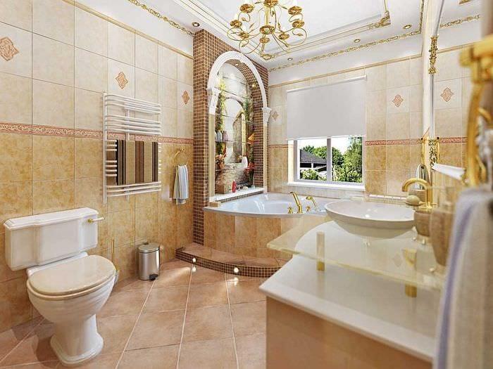 идея яркого интерьера ванной в классическом стиле