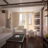 вариант светлого декора гостиной с эркером картинка