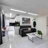 идея светлого декора гостиной комнаты в современном стиле картинка