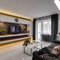вариант необычного дизайна гостиной комнаты в современном стиле картинка