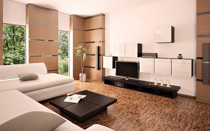 вариант яркого декора гостиной комнаты в стиле минимализм