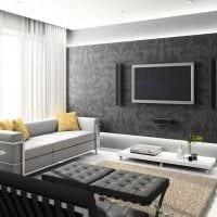 пример светлого дизайна гостиной комнаты в стиле минимализм фото