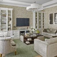 вариант необычного интерьера комнаты в стиле современная классика картинка
