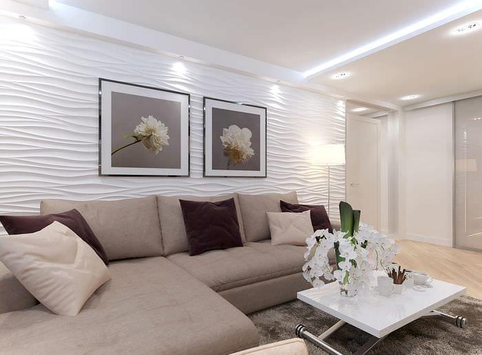 идея красивого интерьера комнаты в светлых тонах в современном стиле