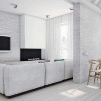 вариант необычного дизайна квартиры в светлых тонах в современном стиле картинка