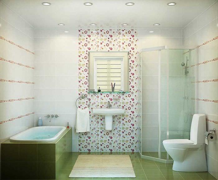 вариант яркого стиля ванной комнаты 2017