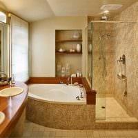 идея красивого стиля ванной с угловой ванной картинка