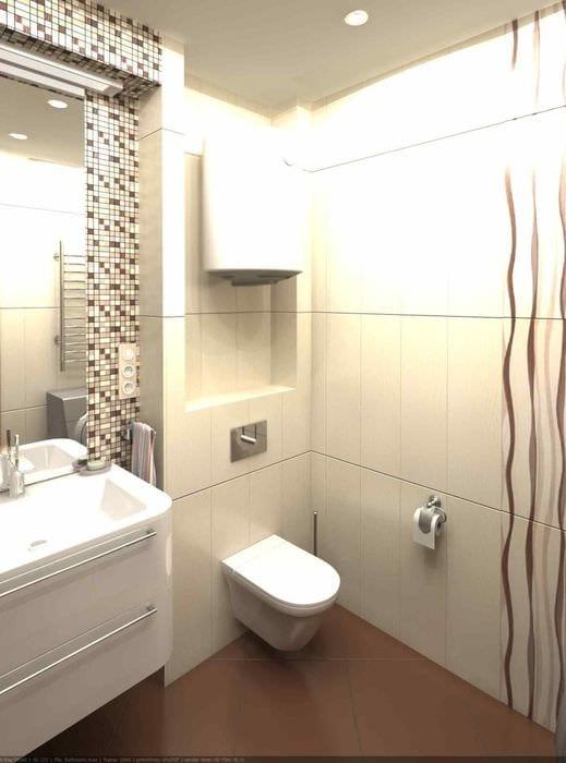 вариант необычного стиля ванной комнаты в бежевом цвете