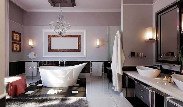 идея красивого интерьера ванной в черно-белых тонах
