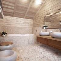 идея красивого стиля ванной в деревянном доме фото