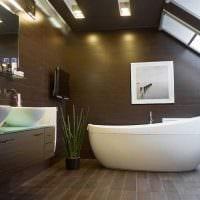 вариант красивого стиля ванной комнаты с окном фото