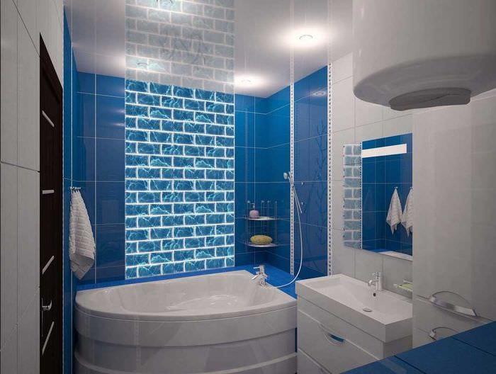 идея красивого дизайна ванной комнаты с угловой ванной