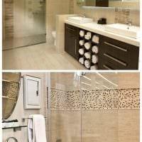 вариант необычного дизайна ванной комнаты в бежевом цвете картинка