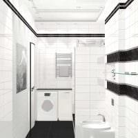 вариант красивого дизайна ванной в черно-белых тонах картинка