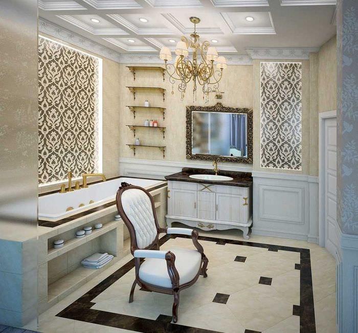 вариант светлого интерьера ванной комнаты в классическом стиле