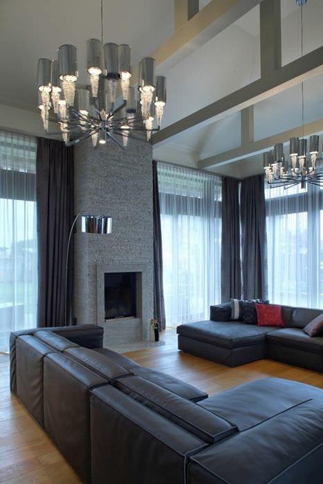 пример светлого стиля гостиной 16 кв.м
