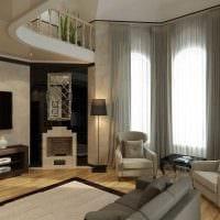 пример необычного декора гостиной комнаты с камином фото