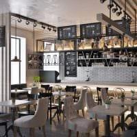 идея яркого дизайна кафе в стиле лофт картинка