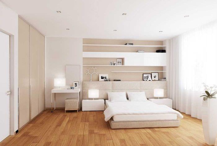 вариант яркого дизайна белой спальни