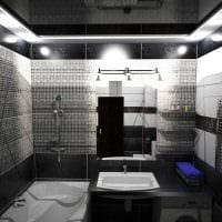 вариант необычного дизайна ванной комнаты в черно-белых тонах картинка
