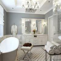 идея светлого интерьера ванной в классическом стиле картинка