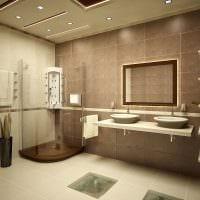 вариант светлого дизайна ванной в бежевом цвете фото
