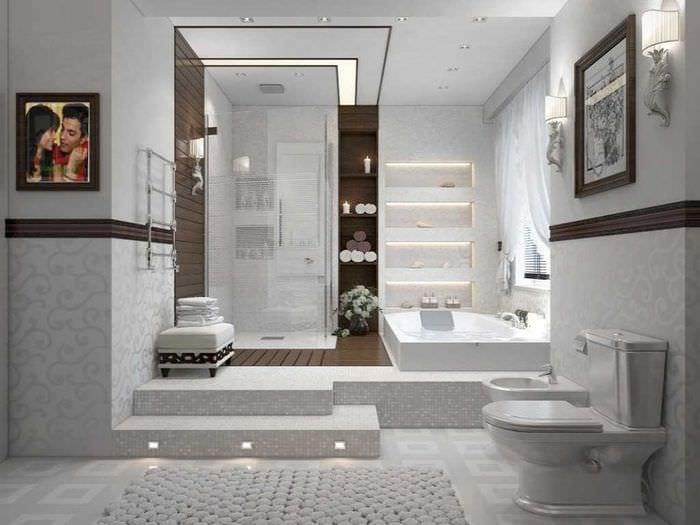 идея современного интерьера большой ванной