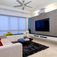 пример яркого дизайна гостиной 16 кв.м фото