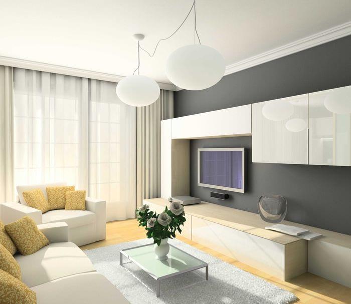 пример красивого стиля гостиной комнаты 19-20 кв.м