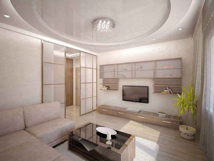 вариант необычного дизайна гостиной 2018