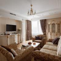 вариант красивого интерьера гостиной комнаты в современном стиле картинка