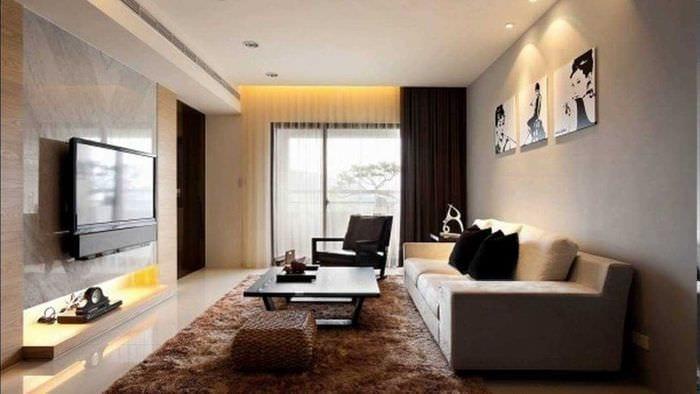 идея яркого стиля гостиной комнаты в современном стиле