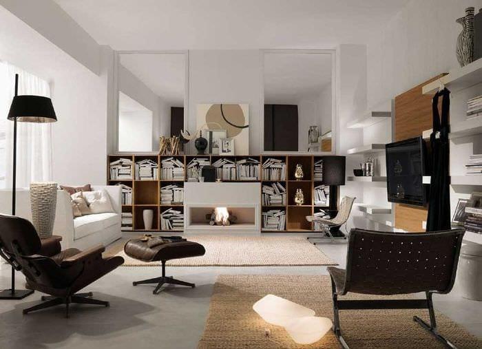 вариант светлого дизайна гостиной в современном стиле