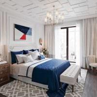 вариант необычного стиля белой спальни картинка