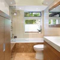 идея необычного интерьера ванной с окном картинка