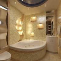 вариант яркого стиля ванной с угловой ванной фото