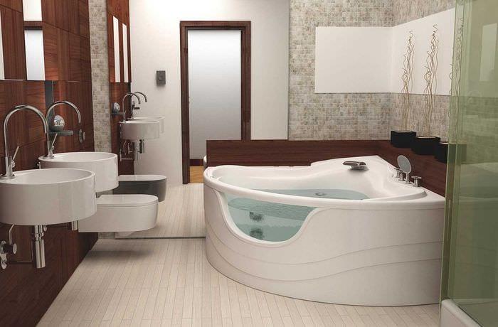 вариант красивого интерьера ванной комнаты с угловой ванной