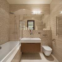 пример красивого стиля ванной комнаты в бежевом цвете картинка