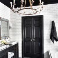 идея яркого стиля ванной в черно-белых тонах картинка