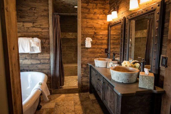 вариант современного интерьера ванной комнаты в деревянном доме