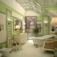 вариант яркого дизайна ванной с окном фото