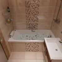 пример яркого интерьера ванной в бежевом цвете фото
