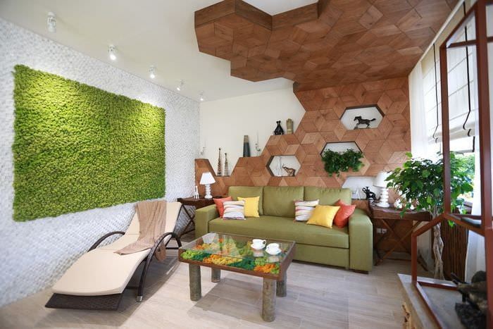 эко стиль в гостиной 18м