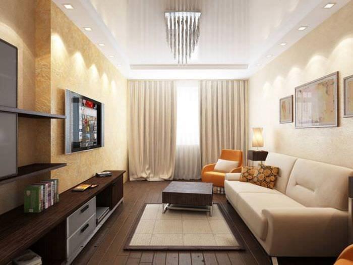 освещение гостиной 18 м2