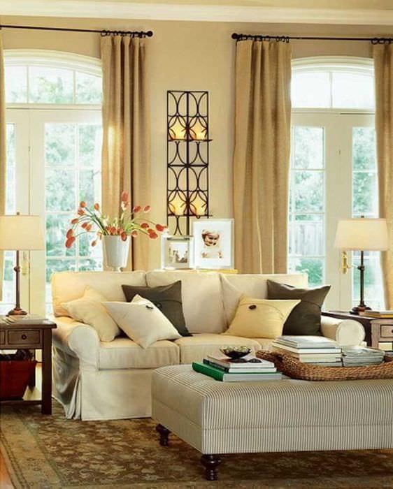 вариант яркого бежевого цвета в дизайне квартиры