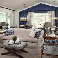 вариант использования интересного голубого цвета в дизайне комнаты картинка