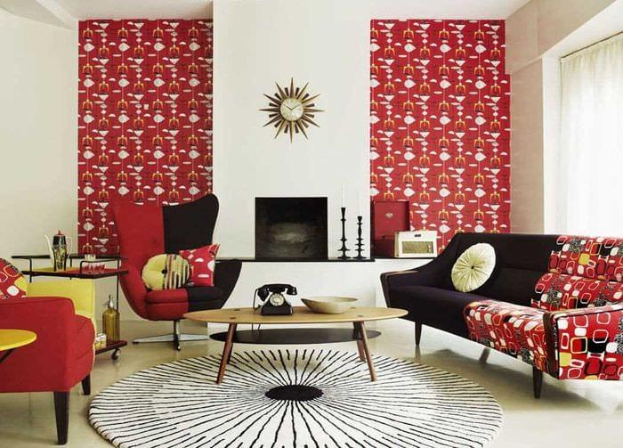 идея использования красивого дизайна комнаты в стиле ретро