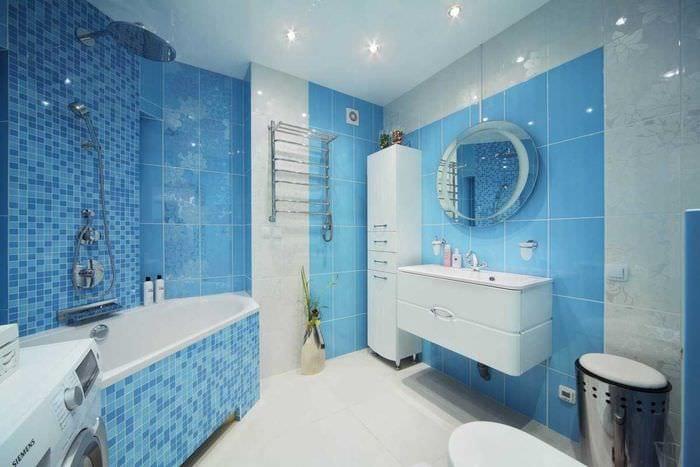 идея применения необычного голубого цвета в дизайне квартиры
