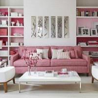 пример использования розового цвета в необычном интерьере комнате фото