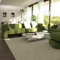 вариант применения зеленого цвета в светлом интерьере квартиры фото